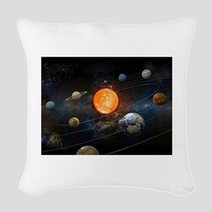 The Solar System Woven Throw Pillow