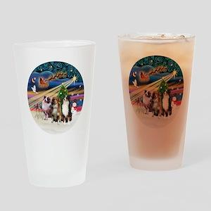 Xmas Magic - Aussie Shepherds (thre Drinking Glass