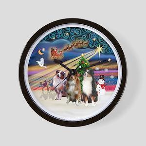 Xmas Magic - Aussie Shepherds (three) Wall Clock