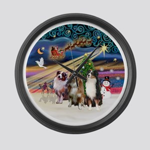 Xmas Magic - Aussie Shepherds (th Large Wall Clock