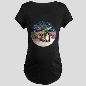 Xmas Magic - Aussie Shepher Maternity Dark T-Shirt