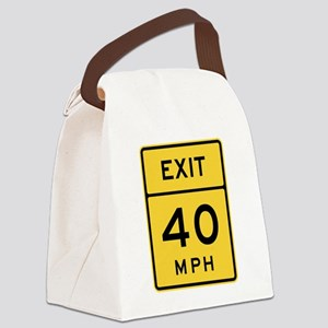 Exit 40 MPH Sign Canvas Lunch Bag
