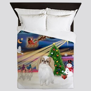 Xmas Magic - Japanese Chin (lemon-whit Queen Duvet