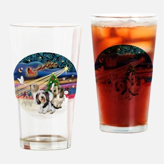 Xmas Magic - Petit Bassets (THREE) Drinking Glass