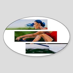 rowing 11x17 Sticker (Oval)