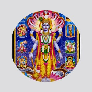 LORD VISHNU SATYANARAYAN AVATARS Ornament (Round)