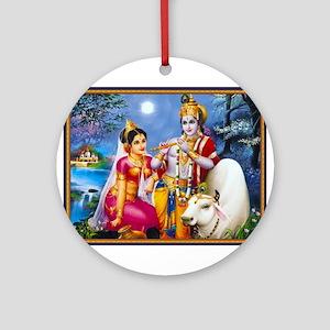 LORD KRISHNA KRISHN RADHA Ornament (Round)