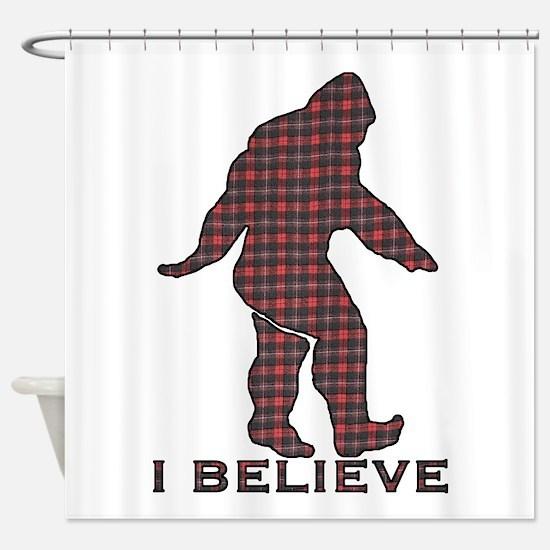 Bigfoot plaid Shower Curtain