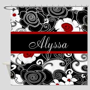 Red Black Floral Personalized Shower Curtain