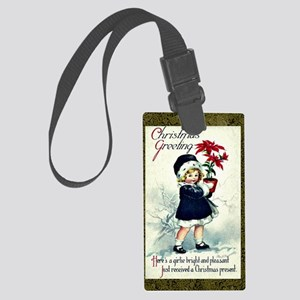 Old-Fashioned Christmas Greeting Large Luggage Tag