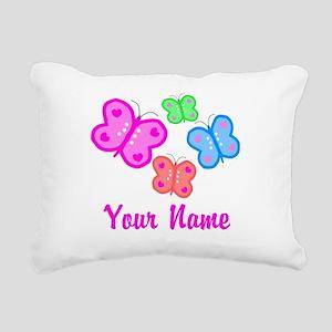 Butterflies Personalized Rectangular Canvas Pillow