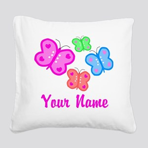 Butterflies Personalized Square Canvas Pillow