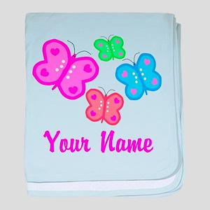 Butterflies Personalized baby blanket