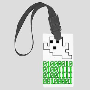 pixelghost-binary Large Luggage Tag