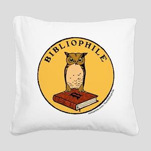 Bibliophile Seal (w/ text) Square Canvas Pillow