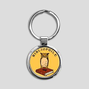 Bibliophile Seal (w/ text) Round Keychain