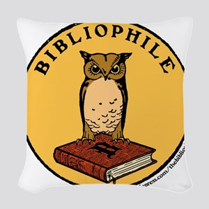 Bibliophile Seal (w/ text) Woven Throw Pillow