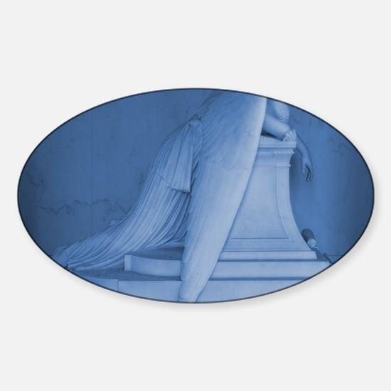blue landscape weeping angel Sticker (Oval)