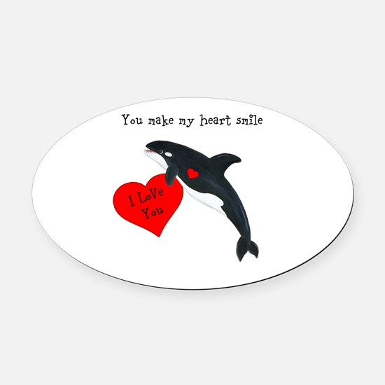 Personalized Whale Valentine Oval Car Magnet