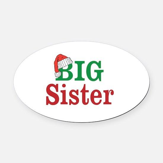 Christmas Big Sister Oval Car Magnet