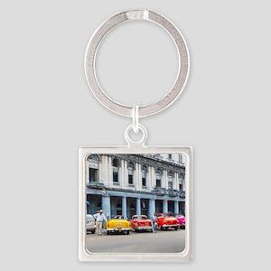 Cars of Havana Square Keychain