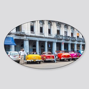 Cars of Havana Sticker (Oval)
