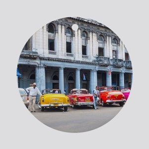 Cars of Havana Round Ornament