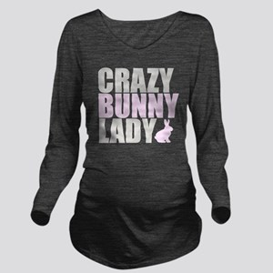 CRAZY BUNNY LADY 2 C Long Sleeve Maternity T-Shirt