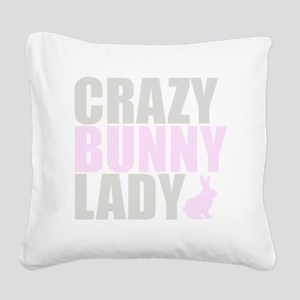 CRAZY BUNNY LADY 2 CLEAR copy Square Canvas Pillow