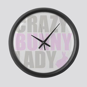 CRAZY BUNNY LADY 2 CLEAR copy Large Wall Clock