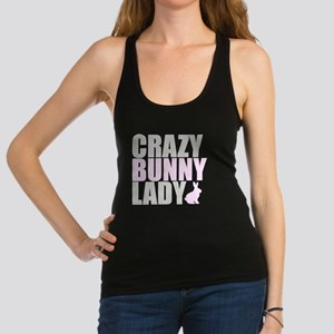 CRAZY BUNNY LADY 2 CLEAR copy Racerback Tank Top