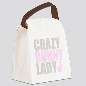 CRAZY BUNNY LADY 2 CLEAR copy Canvas Lunch Bag