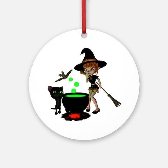 Cauldron Witch.pn... Round Ornament