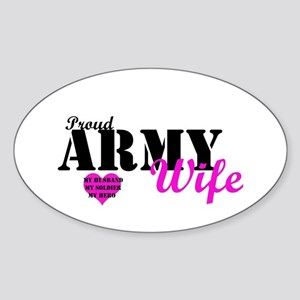 Army Wife Pink Oval Sticker