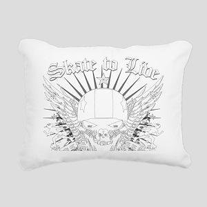 LIVE_TO_SKATE_wht Rectangular Canvas Pillow