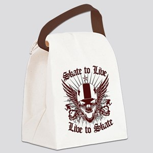 LIVE_TO_SKATE_red Canvas Lunch Bag
