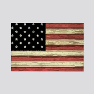Woodcut US Flag note cards Rectangle Magnet