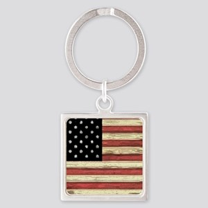 Woodcut US Flag note cards Square Keychain