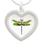 Dragonfly art Silver Heart Necklace