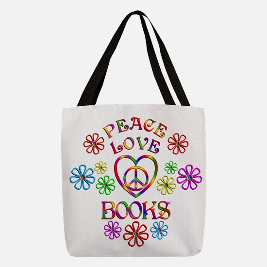 Peace Love Books Polyester Tote Bag