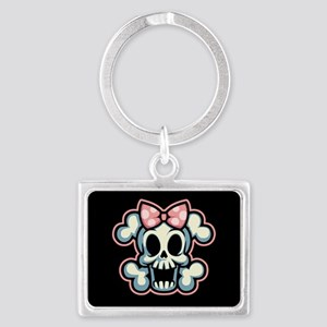 girly-skull1113-T Keychains