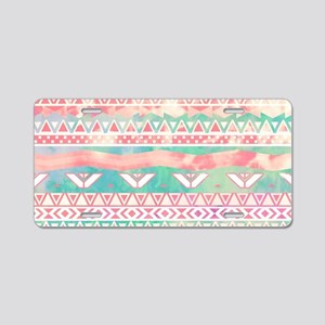 Watercolor Turquoise Pink G Aluminum License Plate