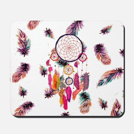 Hipster Watercolor Dreamcatcher Feathers Mousepad