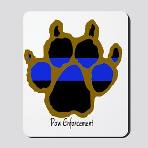Brown Thin Blue Line Paw Enforcement Mousepad