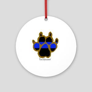 Brown Thin Blue Line Paw Enforcemen Round Ornament