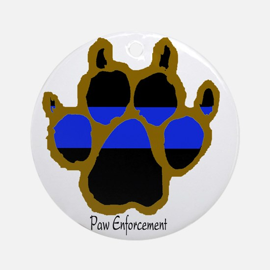 Brown Thin Blue Line Paw Enforcemen Round Ornament