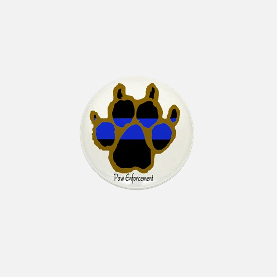 Brown Thin Blue Line Paw Enforcement Mini Button