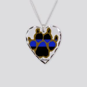 Brown Thin Blue Line Paw Enfo Necklace Heart Charm