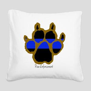 Brown Thin Blue Line Paw Enfo Square Canvas Pillow