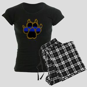 Brown Thin Blue Line Paw Enf Women's Dark Pajamas